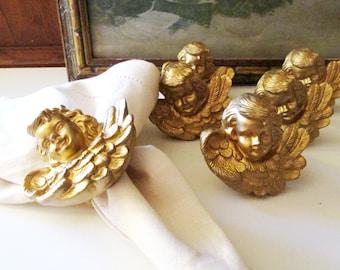 Six Large Golden Cherub Angel Napkin Rings, Christmas Table Decor, Angel Face, Victorian Xmas, Winged Angels
