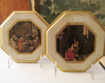 Vintage Pair of Florentine Old Masters Plaques, Italian Wall Gallery Decor, Old World Decor, Wood Plaques, Octagonal Plaques