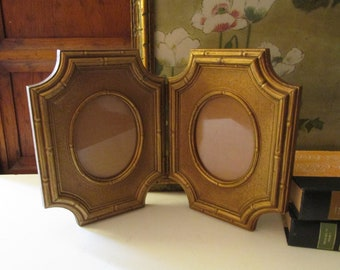 1980's Large Retro Hollywood Regency Double Photo Frame, Gold Bamboo Motif Frame, Chinoiseire Chic Decor, USA Made by Homco, Inc