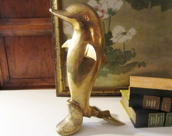 Vintage Brass Standing Dolphin, Brass Dolphin Figurine, Tall Dolphin, Coastal Beach Decor, Brass Fish Sculpture
