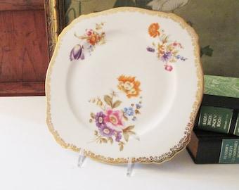 Vintage Bavaria Dessert Plate, Floral Scallop Gold Trim, Tea Party Plate, Gilded Trim Floral Sweets Plate