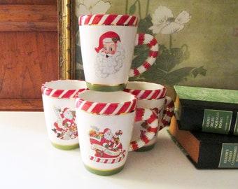 "Four Vintage Christopher Radko Mugs, ""Letters To Santa"" Christmas Mugs"