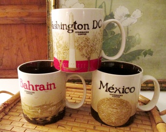Vintage StarbucksCoffee Mugs, Large Mugs, Mexico Mug, Bahrain Mug, Washington DC Mug, Sold Separately, 16 Fluid Ounces