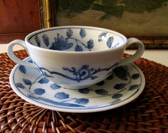 Vintage Blue and White Cream Soup Bowl and Saucer, Lotus Flower Bowls, Oriental Hallmark, Chinoiserie Chic, Small Plates, Alfresco Dining