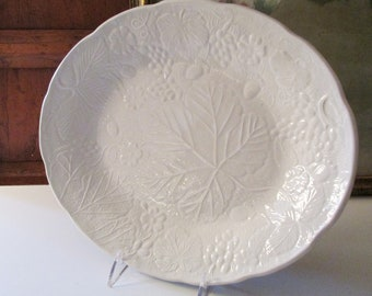 Vintage English Majolica Plater by Burleigh, Davenport, Strawberry and Grape Leaf Pattern, English Ironstone, Farmhouse China
