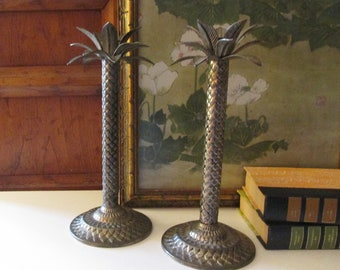 Vintage Pair of Palm Tree Candlesticks, Hollywood Regency Candleholders, Palm Beach Decor, Chinoiserie Chic,