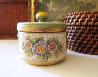 Vintage Gilded Hand Painted Trinket Box, Round Florentine Box, Home Office Decor, Vintage Gift, Grandmillennial Decor