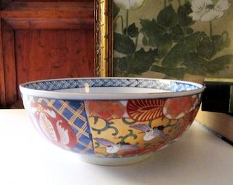 Vintage Imari Porcelain Bowl, Footed Japanese Porcelain, Chinoiserie Decor, Coffee Table Decor, Oriental Hallmark