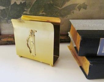 Vintage Colony Metalsmiths, Inc Brass Letter Holder, Napkin Holder, Golfer Office Decor, Gift For Golfer