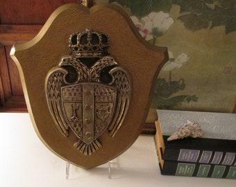 Retro 1970's Shield Coat of Arms Wall Plaque, Wall Gallery Decor, Preppy Decor, Hollywood Regency,
