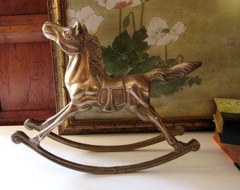 Vintage Large Rocking Horse, Brass Over Size Rocking Horse, Nursery Decor, Brass Decor, Christmas Decor
