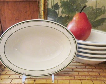 Vintage McNicol China Green Rim Oval Bowls, Restaurantware, Individual Bowls, Ice Bowls, Farmhouse Decor, Bistro Kitchen
