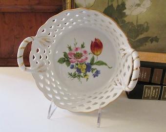 Vintage Royal Danube Reticulated Ceramic Basket, Romantic Basket, Floral Cachepot, Handled Lattice Work Bowl,