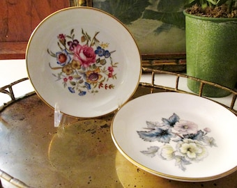 Royal Worchester Pin Dishes, Floral Trinket Dish, Vintage Grandmillennial Gift, Round Dish, Mother's Day, Coaster, English Romantic Decor