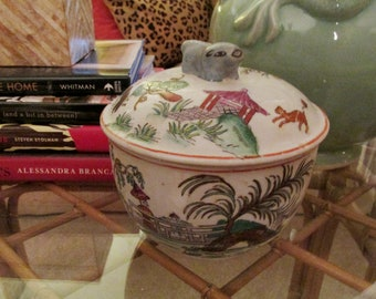 Vintage Style Chinoiserie Decorative Ginger Jar, Lidded Rice Bowl, Chinoiserie Grandmillenial Style, Palm Beach Decor