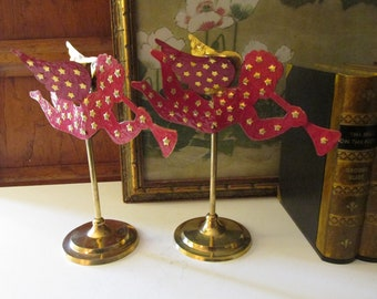 Two Angel Brass and Red Enamel Candlesticks, Pair of Christmas Angels, Mantel Decor,
