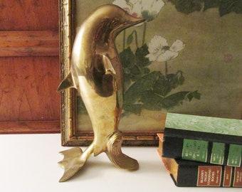 Vintage Brass Dolphin, Brass Beach Decor, Standing Dolphin, Dolphin Sculpture, Beach Coastal Decor