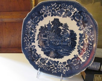 "Vintage English Blue Transferware Platter, Crown Stafforshire, ""Avon Cottage"" Cake Plate, Blue White Decor, English Country"
