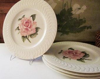 "Four Theodore Haviland New York ""Rose"" Dinner Plates, Floral Plates, Romantic China, Grandmillenial Decor"
