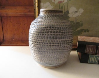 Vintage Donald Murray Hand Made Pottery Vase, Signed Stoneware Blue and Beige Mod Vase, Modernist Home Decor