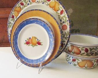 "Vintage Dansk ""Fiance Fruits"" Dinnerware, Pears, Strawberries, Orange and Blue, Salad Plate, Dinner Plate, Soup Bowl"