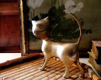 Vintage Brass Cat Figurine, Boho Chic Brass Cat, Brass Kitten, Gift for Cat Lover, Standing Cat Figurine