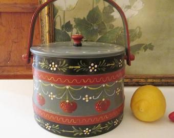Vintage 1980's Firkin Pail, Putney Vermont Style Bucket, Signed Hand Painted Lidded Bucket, Strawberry Bucket, Farmhouse Decor,