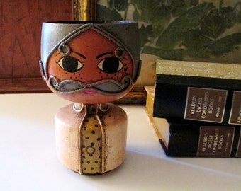 Retro Signed Mexican Head Vase, Candle Holder or Planter, Gustavo Hand Painted Mustache Man, 1970's Folk Art, Boho Chic
