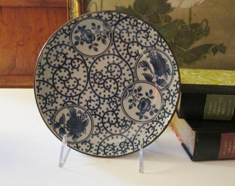 Vintage Blue and White Floral Chinoiseire Dish, Trinket Dish, Coffee Table Decor