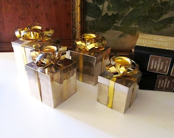 Four Godinger Christmas Box Candlestick Holders, Christmas Presents Candleholders, Set of Four Christmas Silver and Gold Candleholders