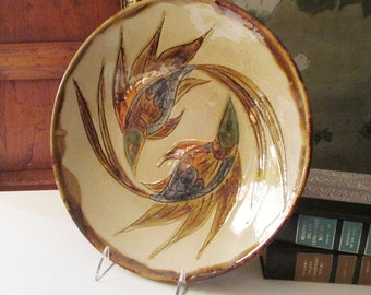 Vintage Art Large Pottery Dish, Signed Studio Pottery Stylized Fish, Hand Painted Ceramic, Coffee Table Decor