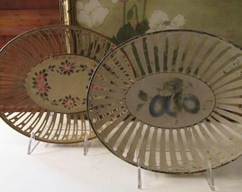 Antique German Fruit Basket, Toleware Baskets Sold Separately, Farmhouse Tole Trays, Metal Fruit Bowls, 1930's Farmhouse Kitchen