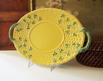 Vintage Bordallo Pinheiro Clover Leaf Yellow Plate, Majolica Style, Spring Table Decor, Easter Decor, Garden Party Decor, Alfresco Dining