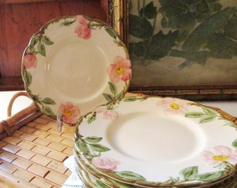 Set of Six Desert Rose Bread and Butter Plates, Franciscan Earthware, Made in California, Alfresco Dining