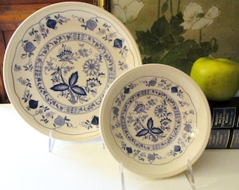 Vintage Set of Four English Blue Onion Dinner Plates, Set of Four Soup or Cereal Bowls, Biltons England, Stafforshire Ironstone