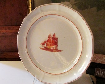 """Wedgwood Flying Cloud Red Charger Plate, Chop Plate, Nautical Plate, English Ironstone, Preppy Decor, 12.5"""" Chop Plate or Charger"""