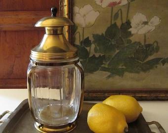 Vintage Glass Cigar Humidor, Hazel Atlas Lantern Style, Hollywood Regency, Candy Jar