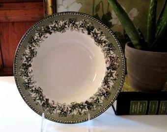 Wiliams-Sonoma Rim Soup Bowls, Kent, Green Transferware Bowls, English Ironstone, Grapes and Ivy Bowls