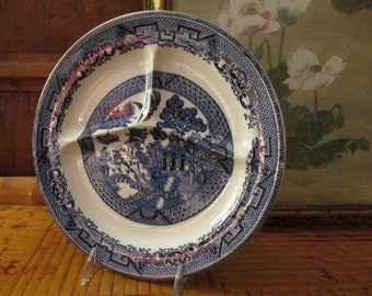 Vintage Woods and Sons, Deep Blue and White Divided Grill Plate, Blue Willow Plate