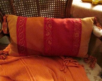 Vintage Laura Ashley Lumbar Pillow, Embroidered Stripe Pillow, Tassel Pillow, Antoinette, Burgundy and Gold Pillow
