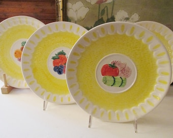 "Vintage Set of Four Sigma The Tastesetter, ""Market Basket"", Bistro Kitchen Decor, Yellow Fruit and Vegetable Plates"