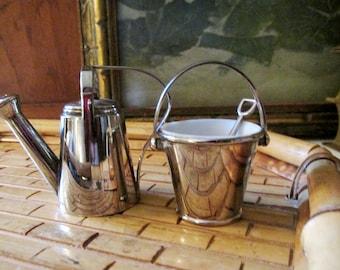 Godinger Watering Can and Pail Salt & Pepper Set, Alfresco Dining, Gift For Gardener, Spring/Summer Table Decor