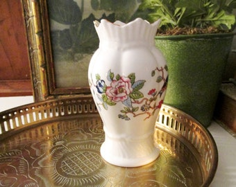 Vintage Aynsley Pembroke Small Vase, Vintage Gift, Mother's Day Gift, Vanity Table Flower Vase, Chinoiserie,