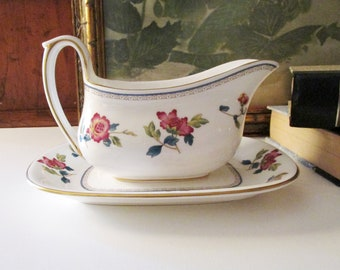 Wedgwood Chinese Flowers Gravy Boat and Underplate, Relish Dish, Chinoiserie Bone China, Colonial Williamsburg Foundation