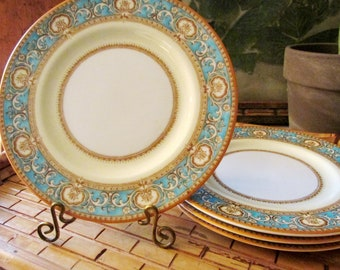 Vintage Royal Worcester Madeira Set of Four Small Plates, Bread and Butter Turquoise and Eggshell Plates, Shell  and Fleur de Lis