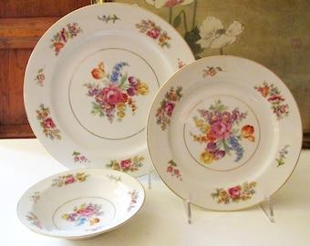 "Vintage Noritake ""Colton"" Dinnerware, Four Dinner Plates,  Four Salad Plates, Four Fruit Bowls, Grandmillennial Stye, 1950's"