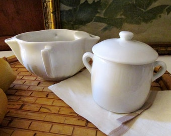 Vintage French White Porcelain Serving Pieces, Gravy Separator, Lidded Sugar Bowl, Pillivuyt of France, Aplico French Whiteware, Bistro