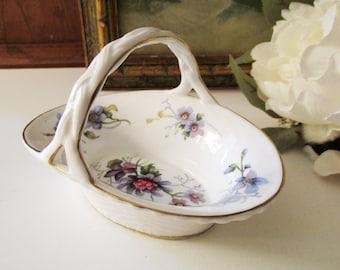 Vintage England Small Candy Dish, Porcelain Violet Flower Handled Dish, Grandmillennial, Vintage Gift