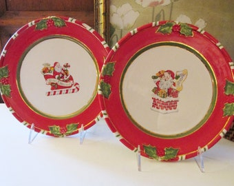 """Vintage Pair of Christopher Radko """"Letters to Santa"""" Salad Plates, Cookie Plates, Red and Green Christmas"""
