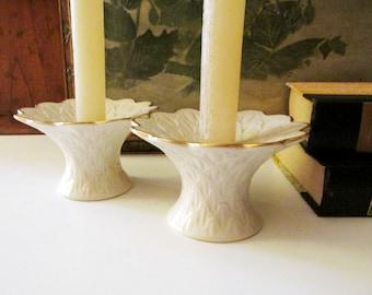 Vintage Lenox USA Candlestick Holders, Formal Dining, Porcelain Candleholders, Holiday Table Decor